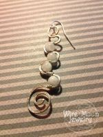 Swirl Earring with Moonstone by WireMoonJewelry