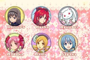 Magical girl Madoka buttons $2 by ComplexWish