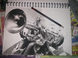 Louis Armostrong Trumpet charcoal A4 in progress by Helsartpage