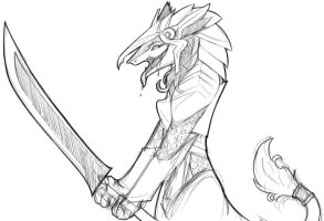 Sergal Fanart Sketch by Twokinds