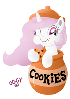 Celestia and cookies by Oggynka