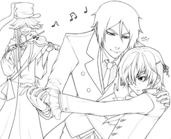 Sebastian and Ciel dancing by villainesayre