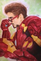 Watercolor Tony Stark by nupao