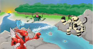 Double Battle at the Rapids by Rorousha