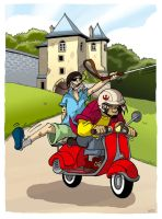 Pedro and Jang on motocycle by scoundreldaze