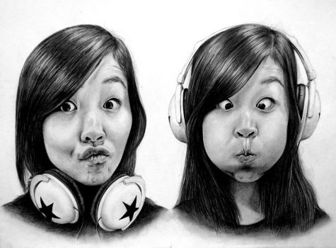 Self-Portrait --- Headphones by snammie