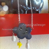 Cute stormy cloud necklace by FocaccinaDesign by MGFM