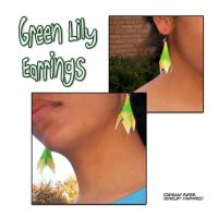 Green Lily Earring by Kagitsune
