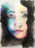 Sad Eyes Watercolor Painting by LordColinOneal