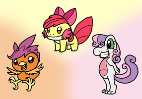 Cutie Mark Crusaders, Starter Pokemon, YAY! by DragonwolfRooke