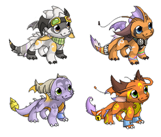 Chibis - main dragon OCs by Nordeva