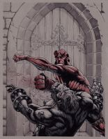 Hellboy VS Kriegaffe by GeorgeLiquor
