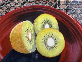 Kiwis on Red Plate by clarenancyking