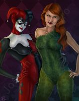 Harley Quinn and Poison Ivy by JGiampietro