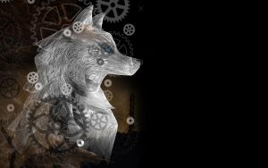 Clockwork wolf - wallpaper by rockgem