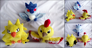 Legendary Bird Pokedolls by xBrittneyJane