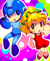 Megaman and Roll by PuddingPlushiePalace