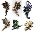 Steampunk dragon magnets by chaoka