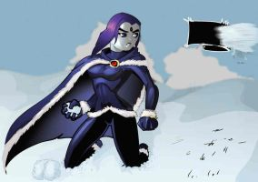 Raven Angry Girl in Snow by MG by teentitans