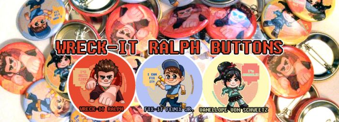 Wreck-It Ralph buttons by betrayal-and-wisdom