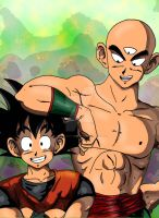 Tenshinhan and Son Goku by BLACKNIGHTINGALE81