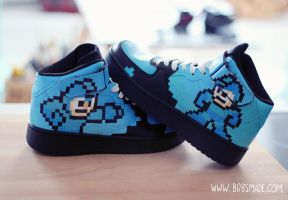 Custom Mega Man Sneaker - Back to Black by Bobsmade
