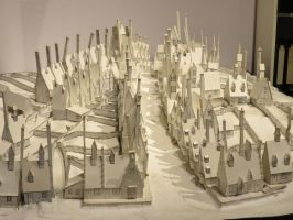 model plan of hogsmeade harry potter  white card by Sceptre63