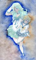 Uranus and Neptune Sky Dance by KoriMichele