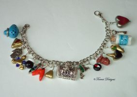 Zelda OoT Charm Bracelet with MilkBottle GreenFrog by TorresDesigns