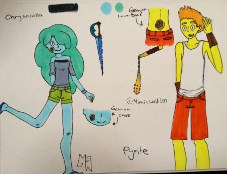 Chrysocolla and Pyrite Steven Universe Ocs by Mimicwolf