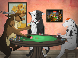 Poker Wolves by WoofMewMew