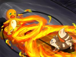 Charmander VS Furret by Angel-soma
