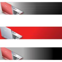 beautiful red o gray business laptop banner design by cgvector