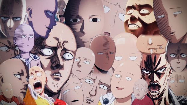 One Punch Man - Saitama Faces Wallpaper Colour by SKIGZdoesART