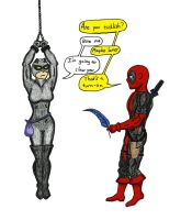Deadpool Tickling Catwoman 1 by The-Primal-Clark