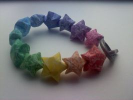 Origami Paper Star Bracelet by BoredToDeath07