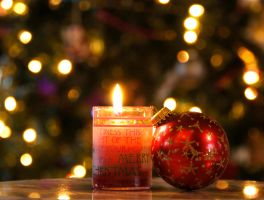 Christmas Candle and Ornament by MogieG123
