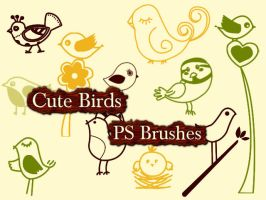 Cute Birds Photoshop Brushes by petermarge