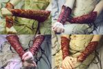 Royal Red and Gold Bracers Raffle by Temperate-Sage