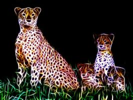 Cheetah Family by Ishtar-the-guardian