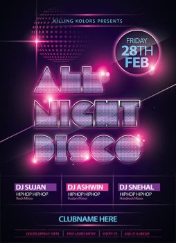 All Night Disco Party Flyer by mantushetty
