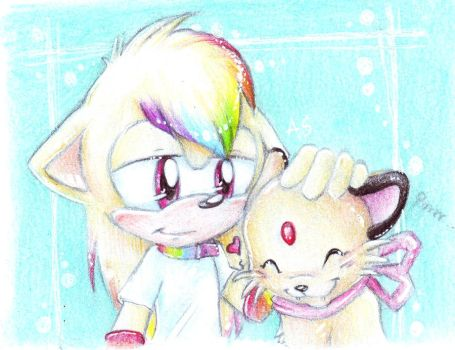 Myrtille with his Persian by PixelRaccoon