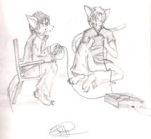 Mikabre and I playing X-Box by ShadowPaladin