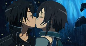 Kirito and Sinon kiss by Vergilian91