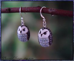 Ceramic Owl Earrings in Black and Purple by StephaniePride