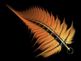 Orange Burst Fern Frond by Gibson125