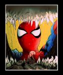 spidey vs manwolf collab by contey