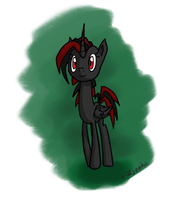 Black and Red Alicorn OC by Zjenka
