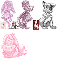 Sketch Dump 16: September 9 2013 LiveStreamDoodles by forte-girl7