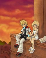 Roxas and Namine by sketchtastrophe